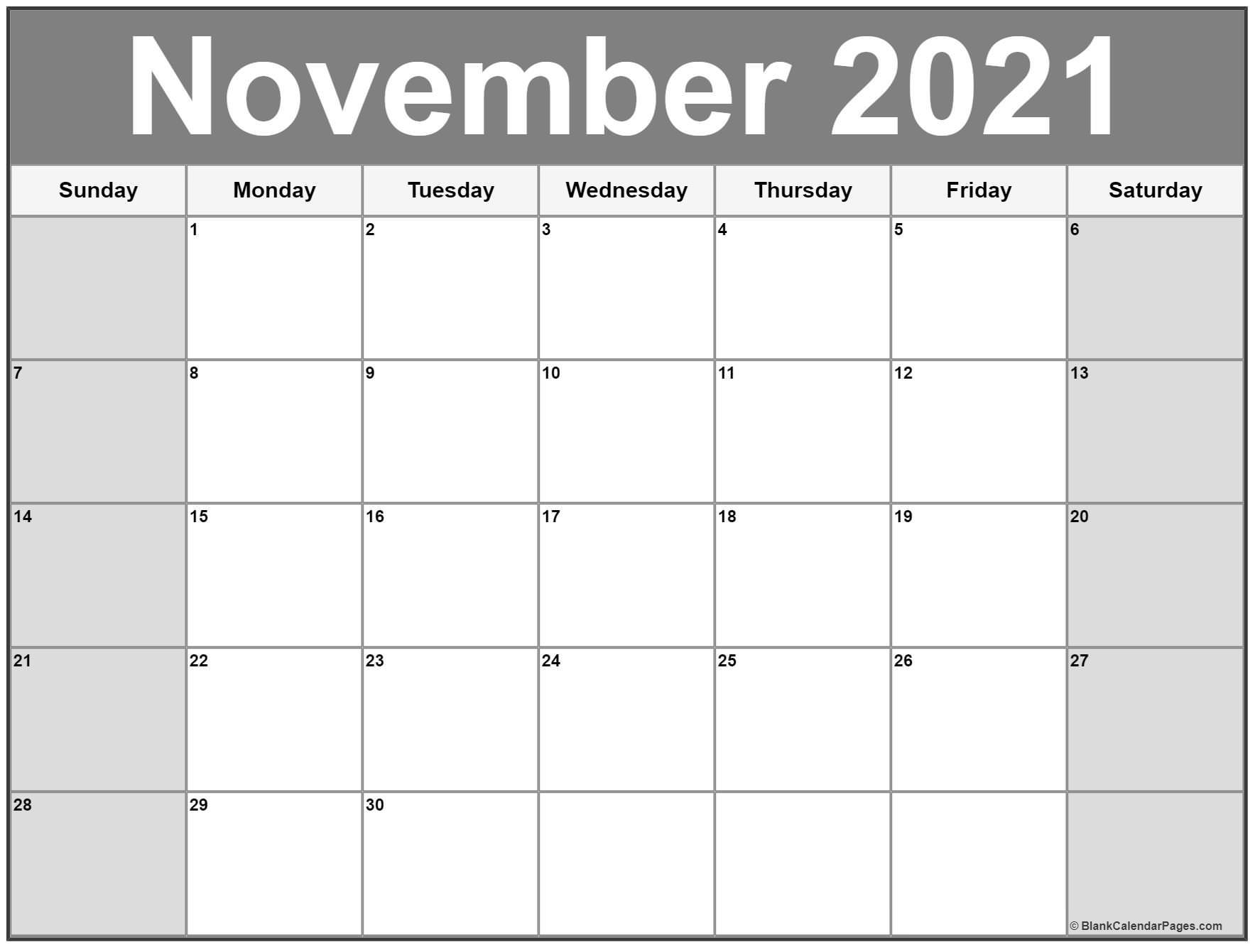 November 2021 Calendar   56+ Templates Of 2021 Printable