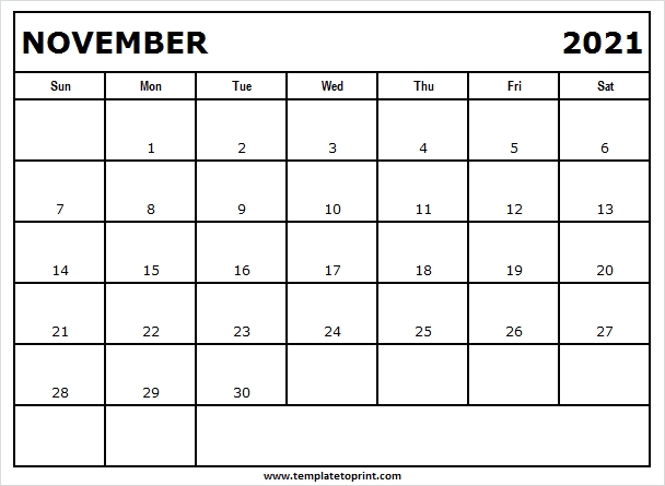 November 2021 Calendar Free - Print Free Calendar 2021