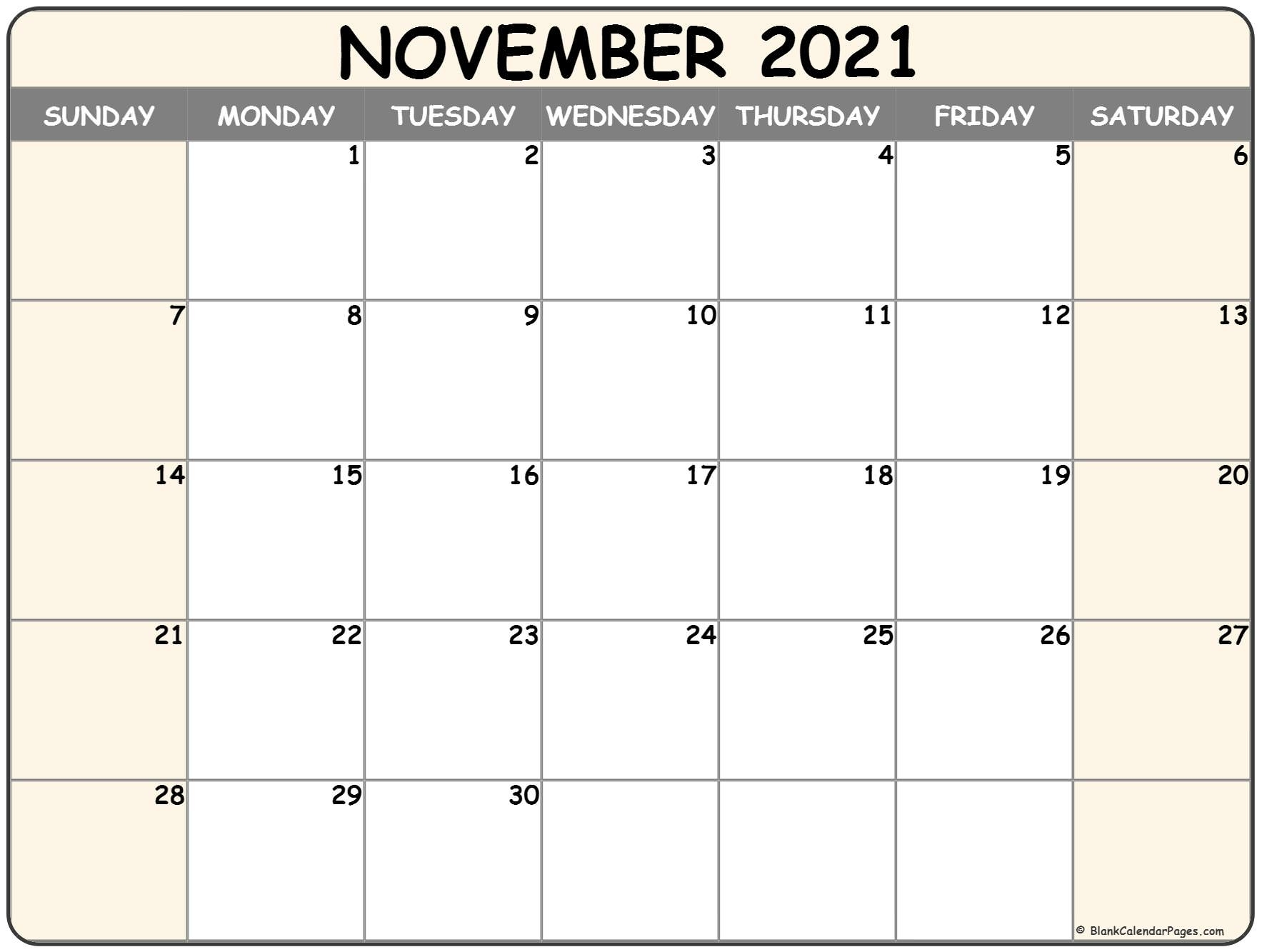November 2021 Calendar   Free Printable Calendar Templates