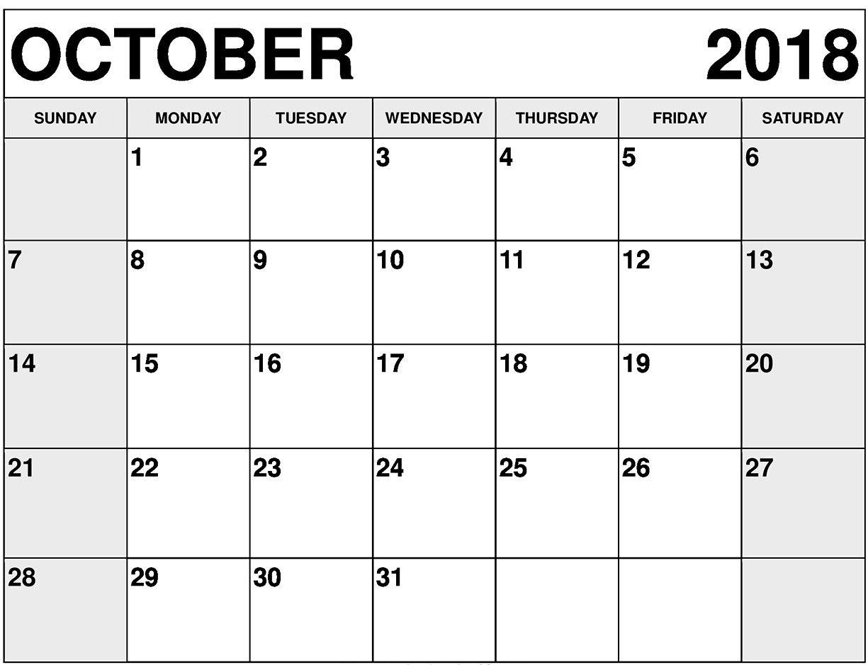 October 2018 Printable Calendar Editable | October