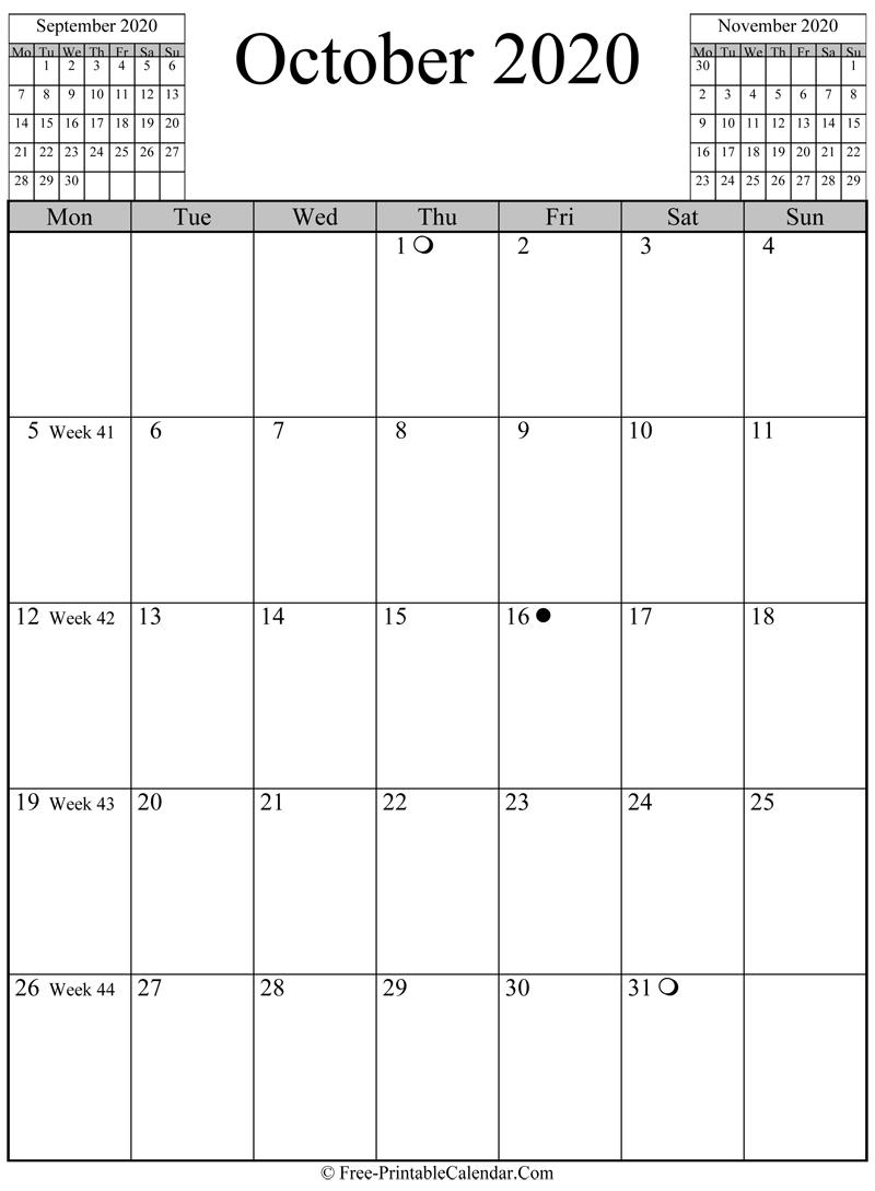 October 2020 Calendar (Vertical Layout)