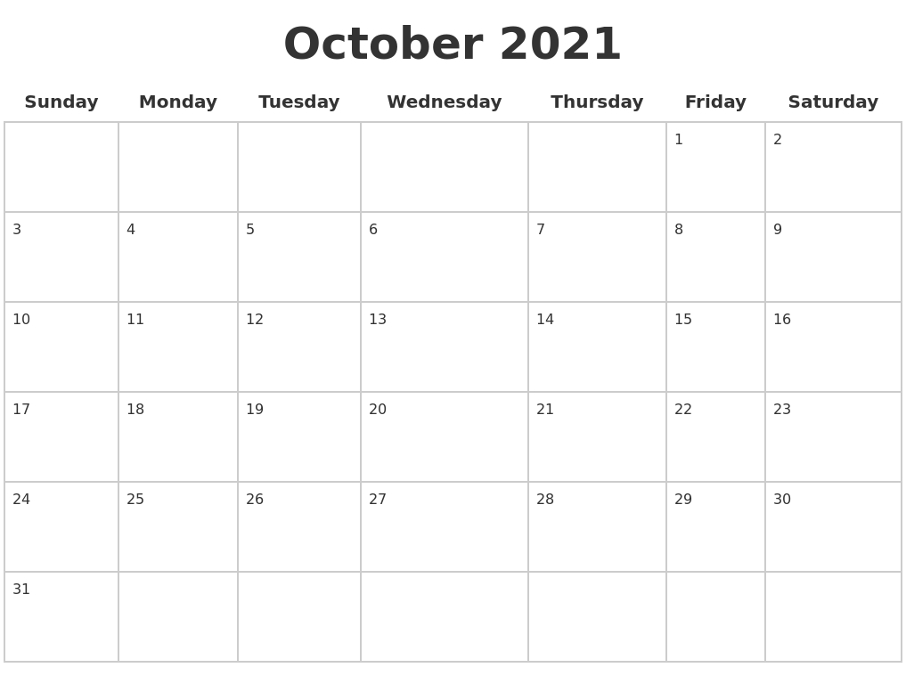 October 2021 Blank Calendar Pages