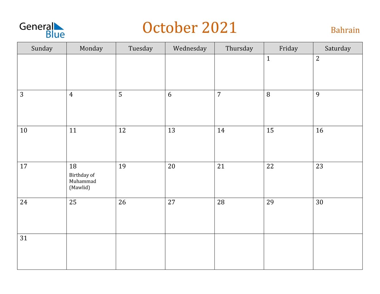 October 2021 Calendar - Bahrain