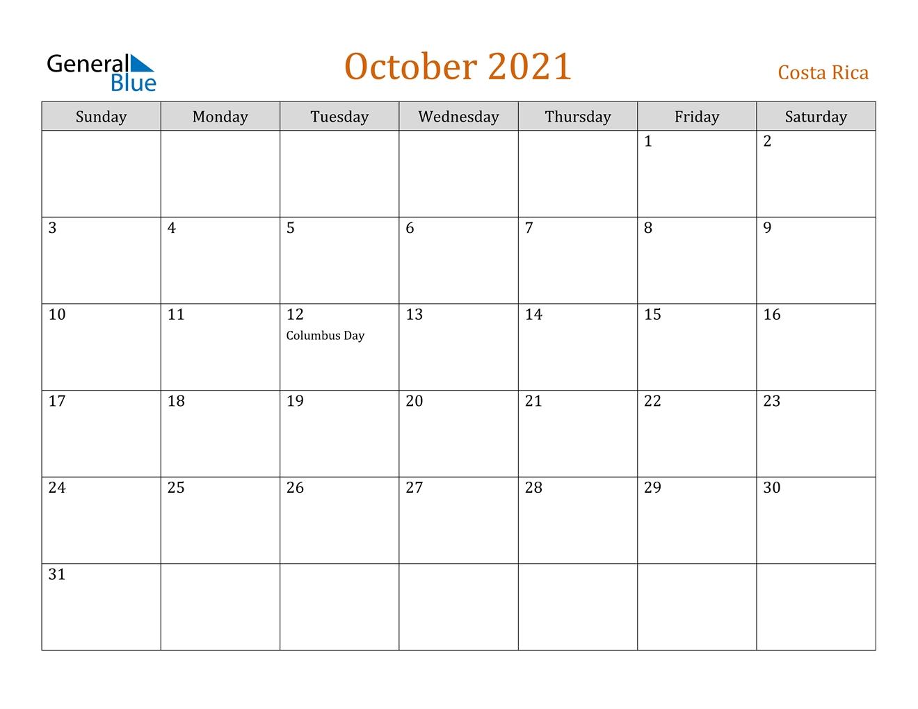 October 2021 Calendar - Costa Rica