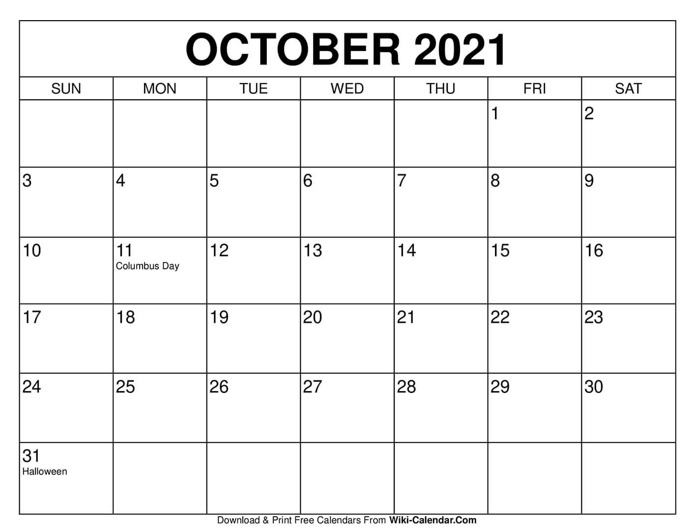 October 2021 Calendar Free Printable | 2021 Printable