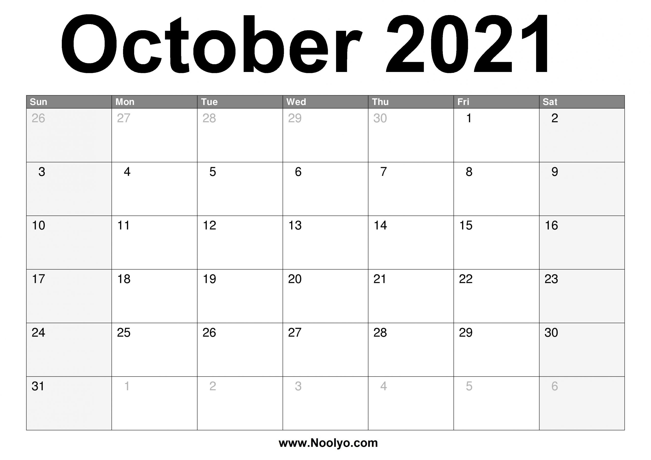 October 2021 Calendar Printable - Free Download - Noolyo