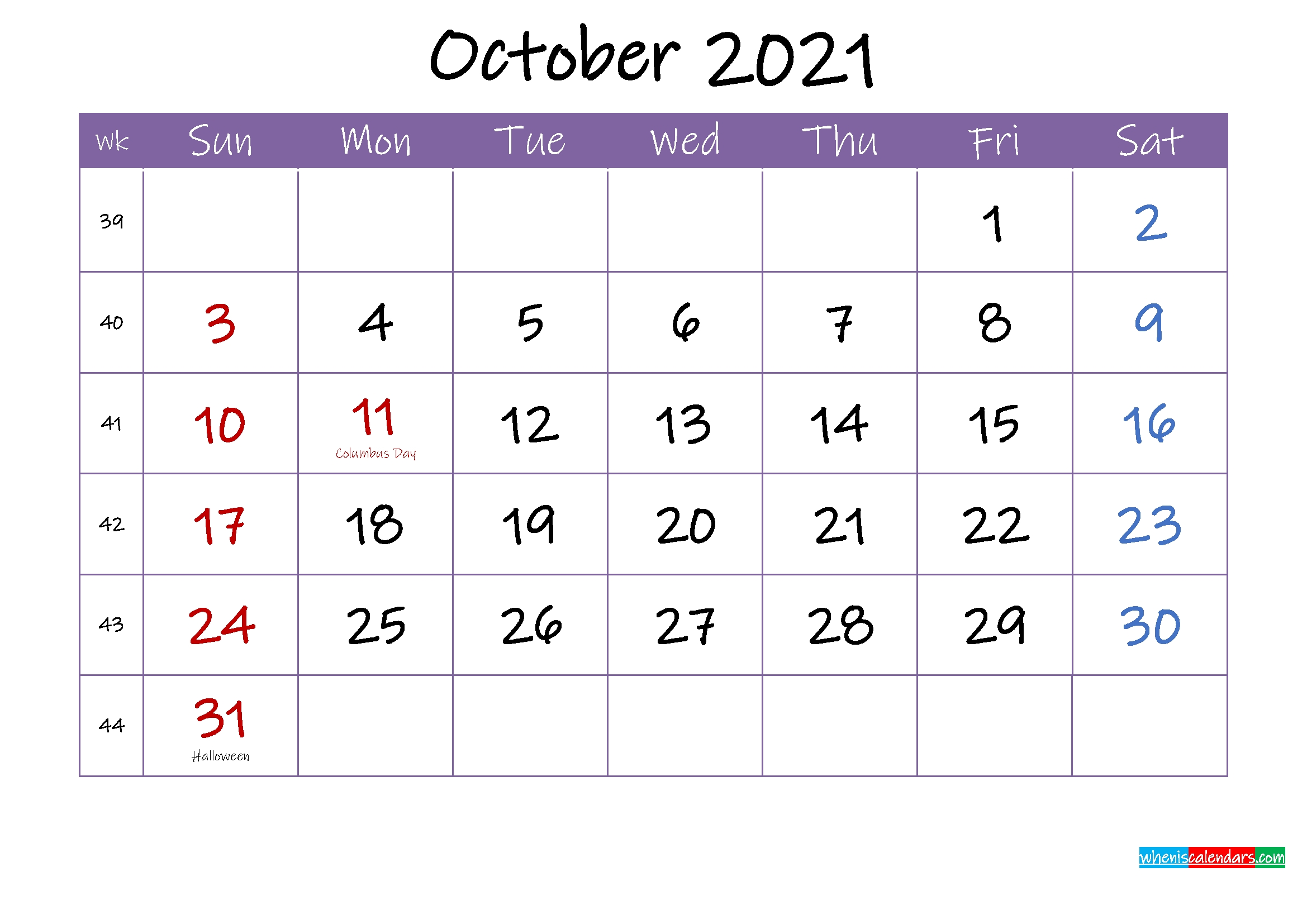 October 2021 Calendar With Holidays Printable - Template