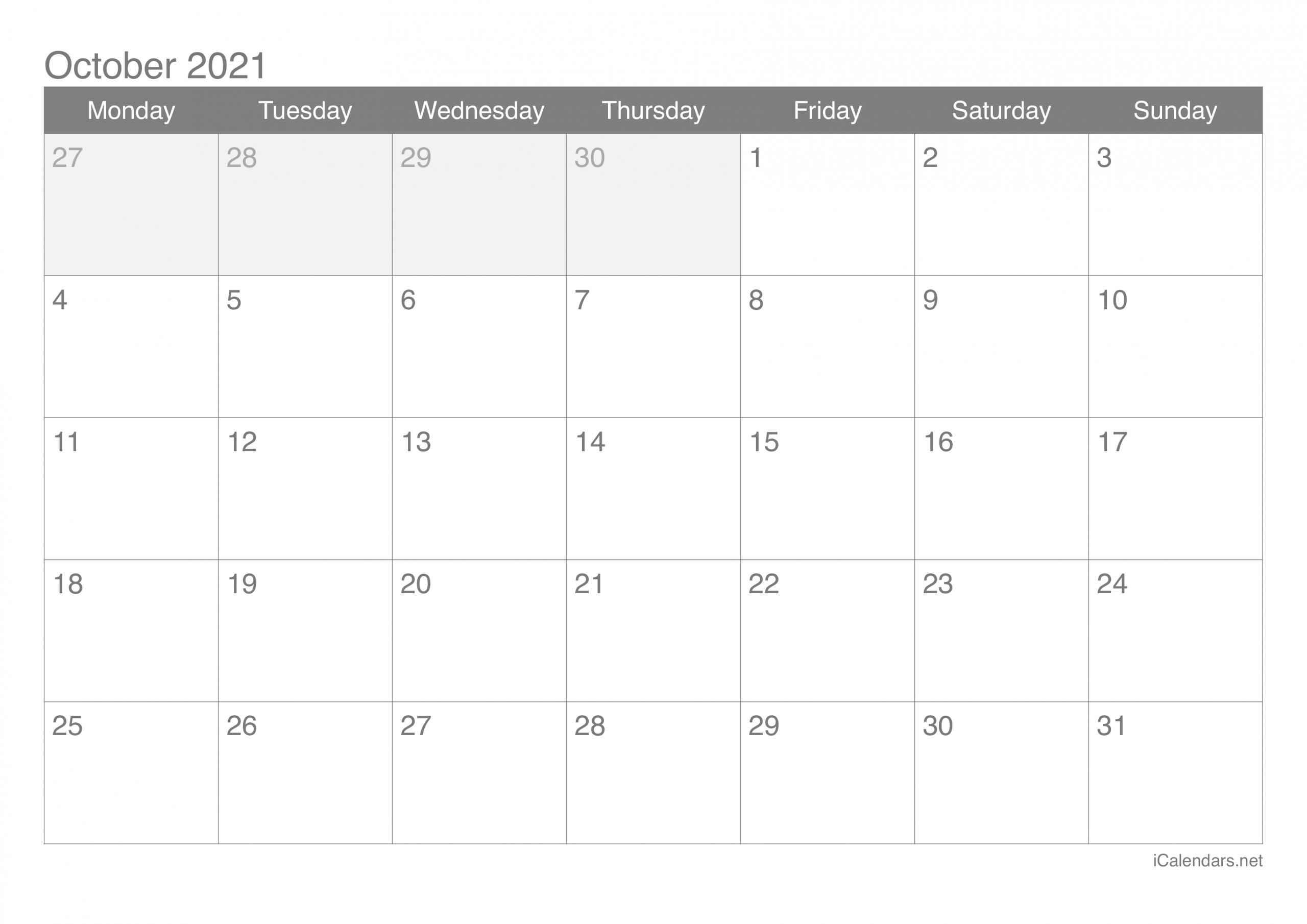 October 2021 Printable Calendar - Icalendars