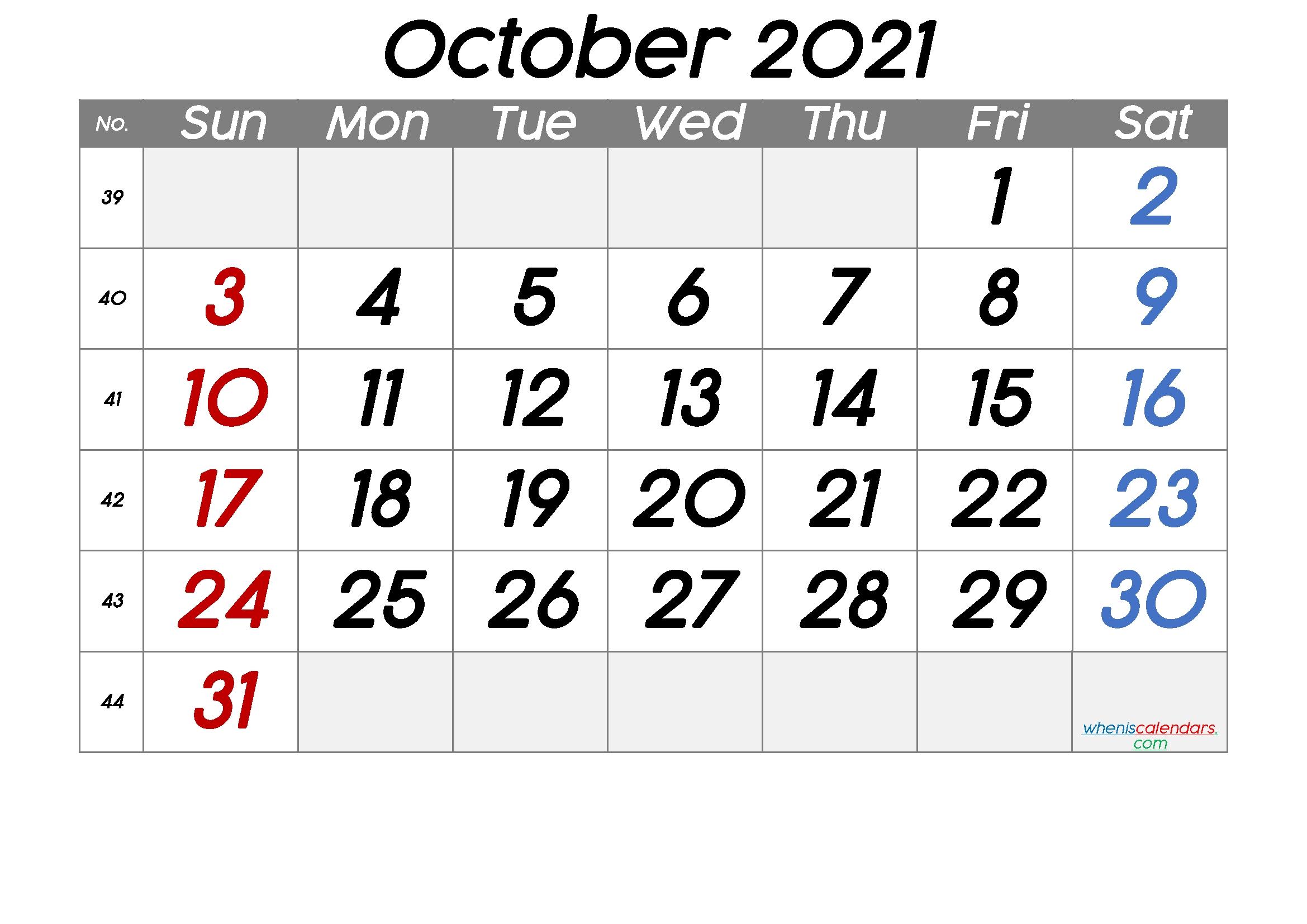 October 2021 Printable Calendar With Week Numbers [Free