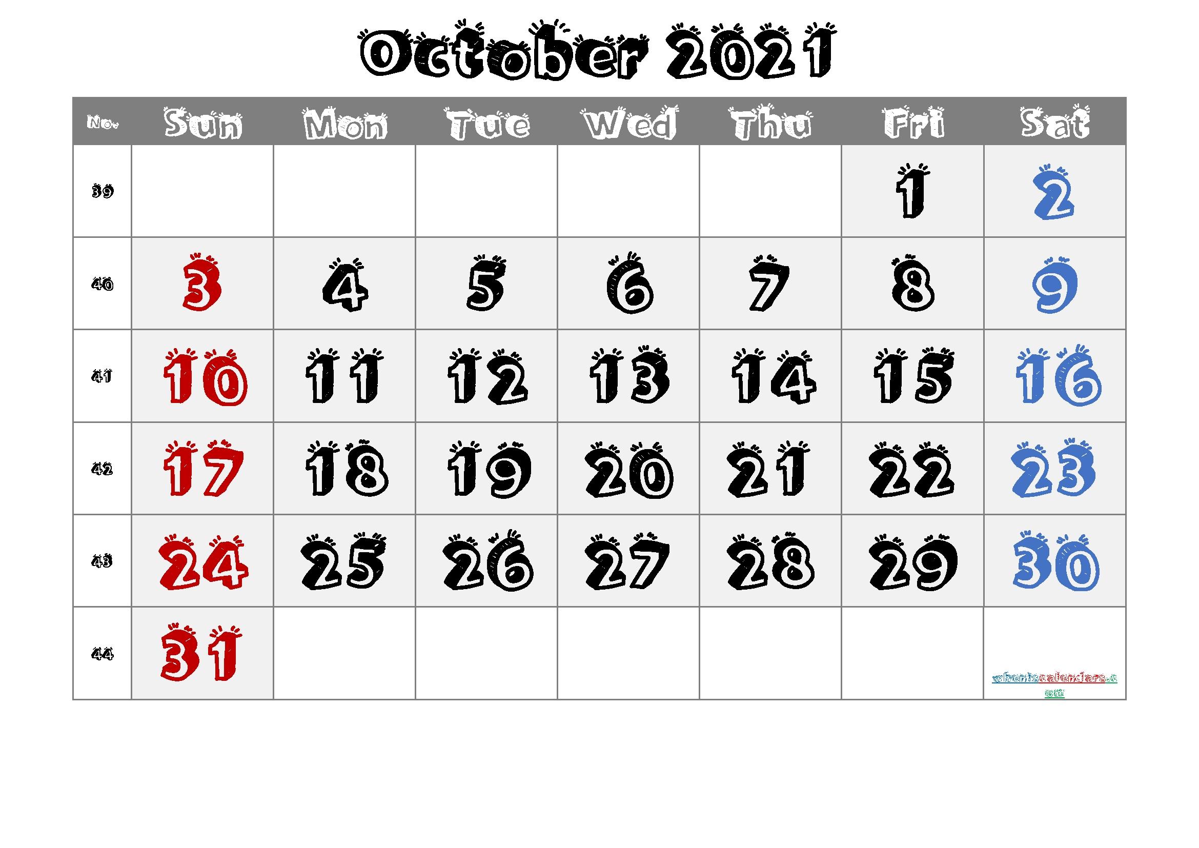 October 2021 Printable Calendar With Week Numbers October