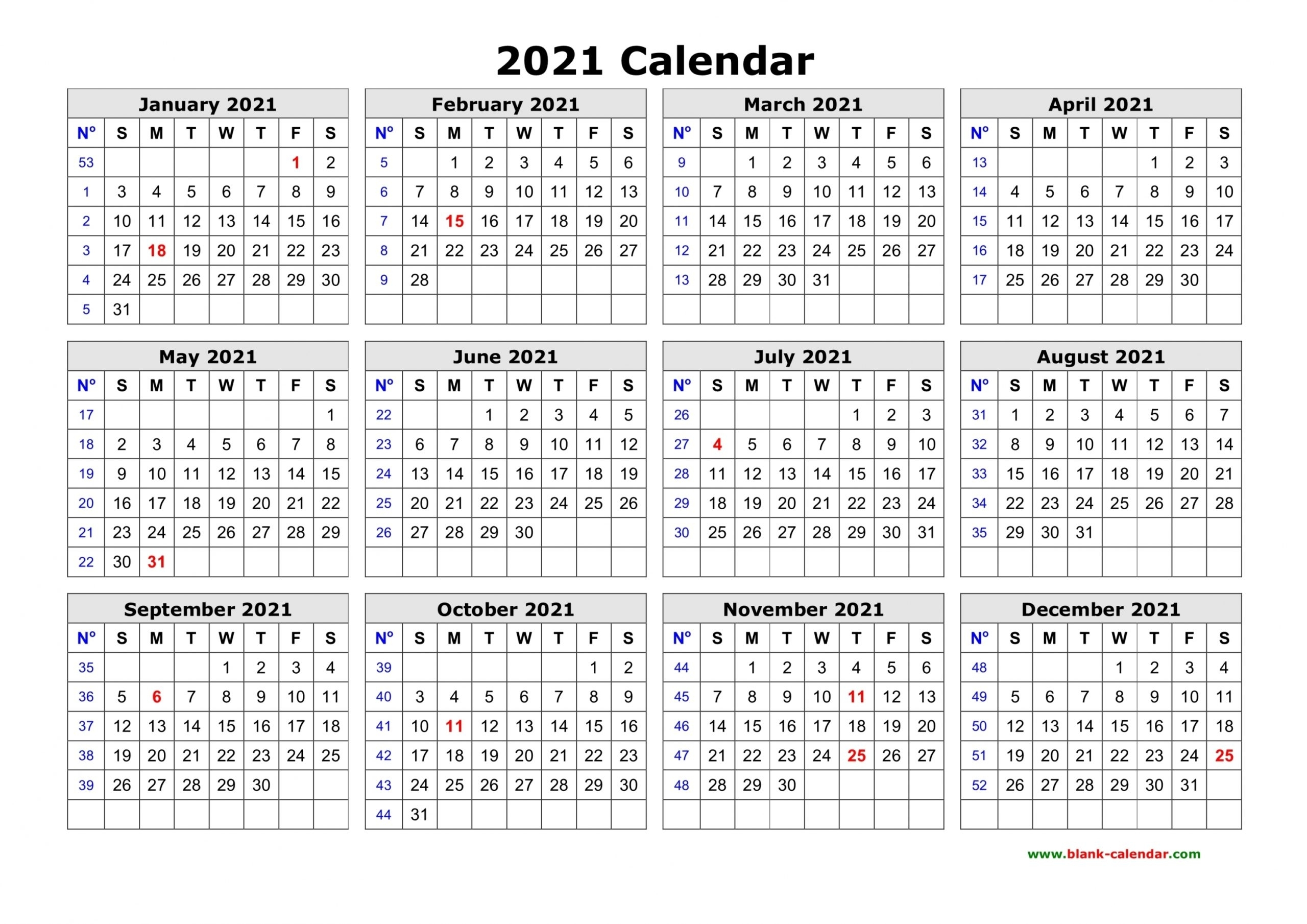 One Page Calendar 2021   Free Letter Templates