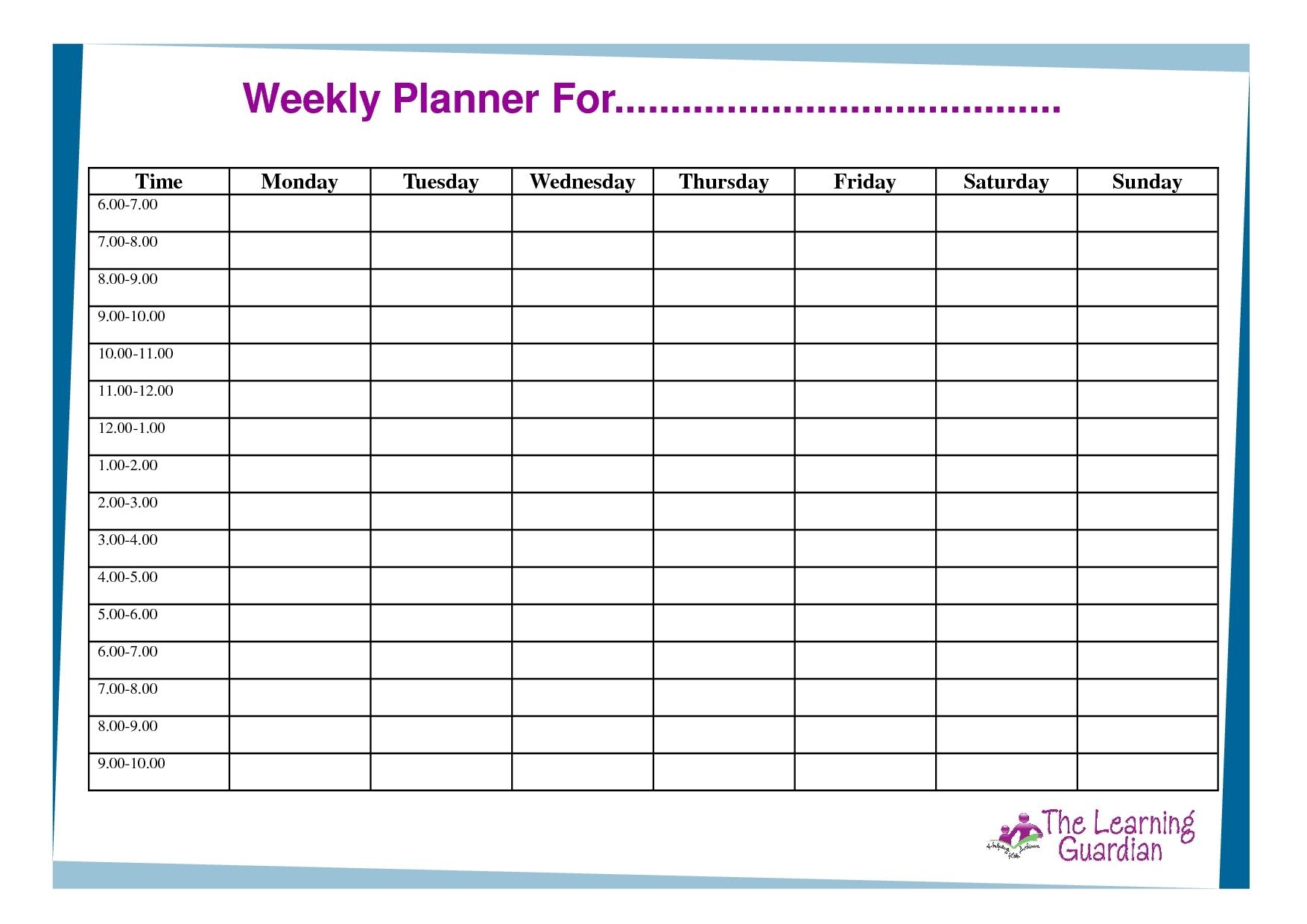 One Week Calendar With Hours - Calendar Inspiration Design