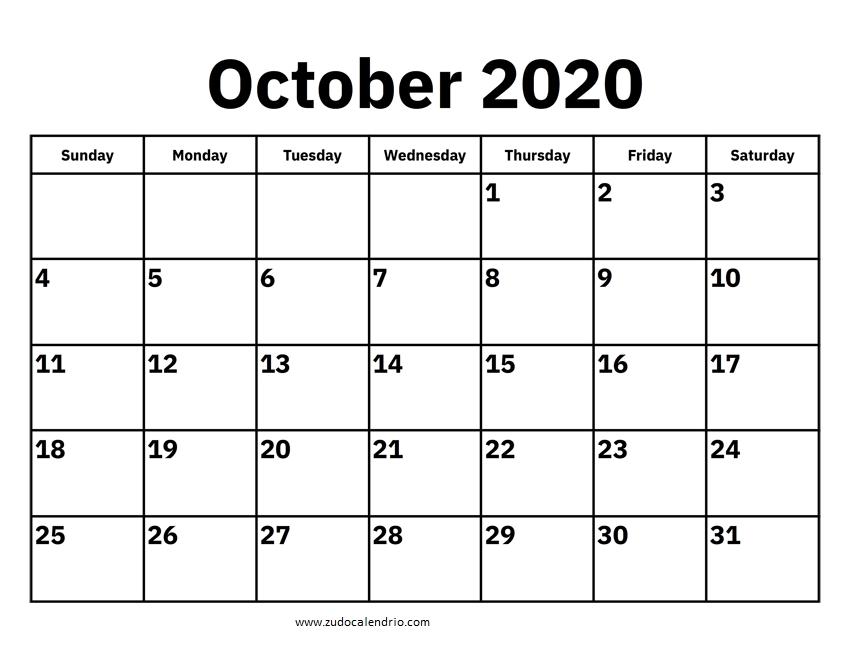Online Calendar October 2020 | Zudocalendrio