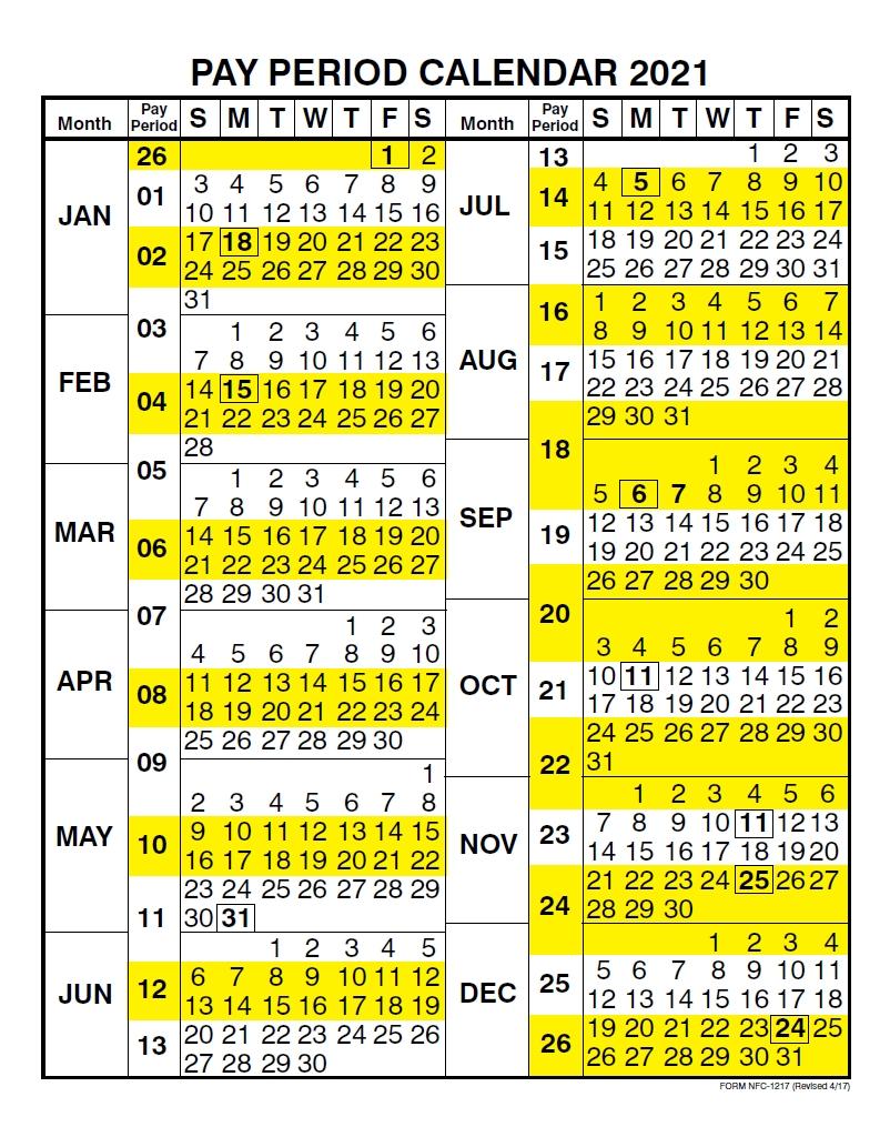 Pay Period Calendar 2021 | Payroll Calendar