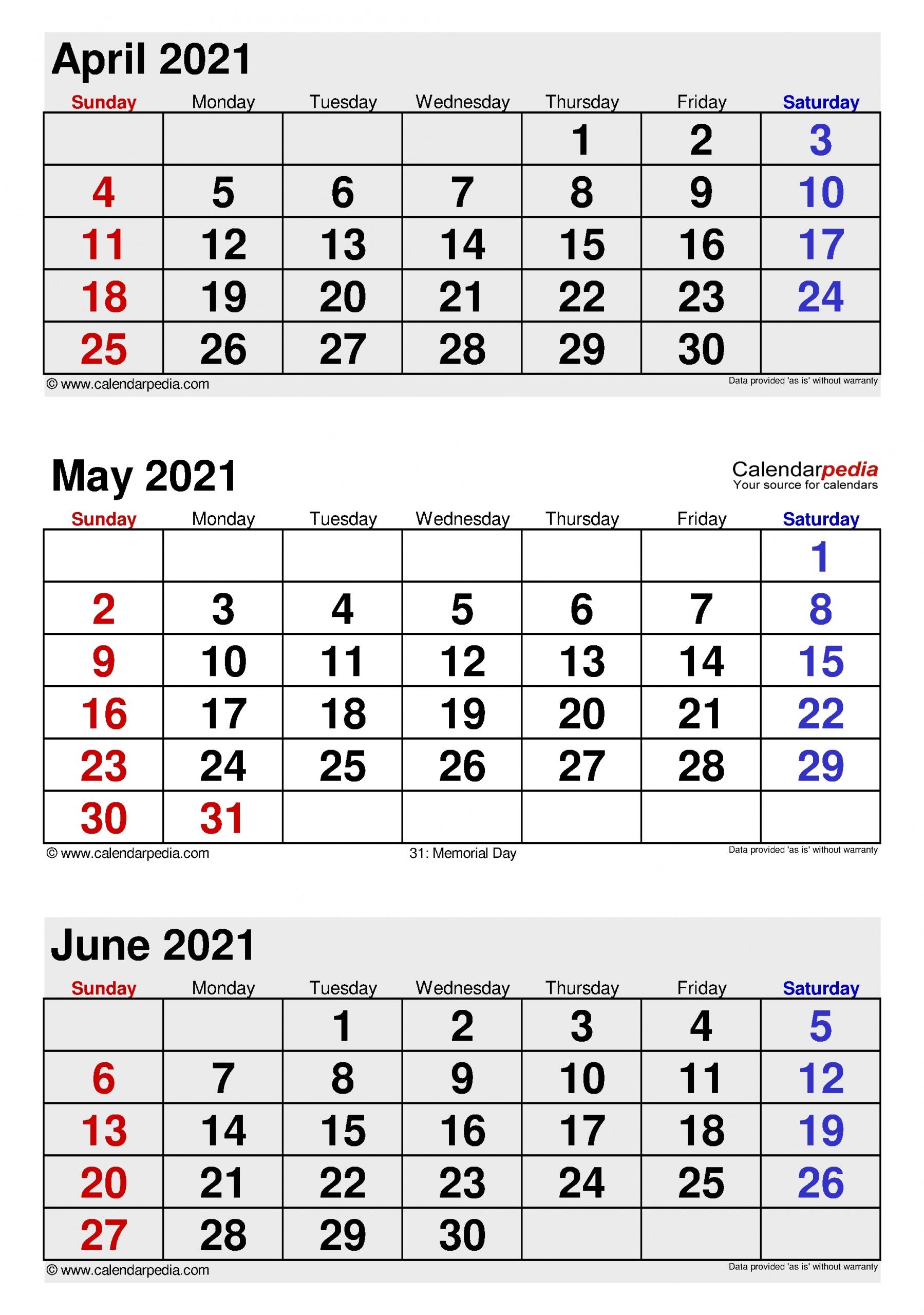 Pdf Calendar 2021 Three Months Per Page - Example Calendar