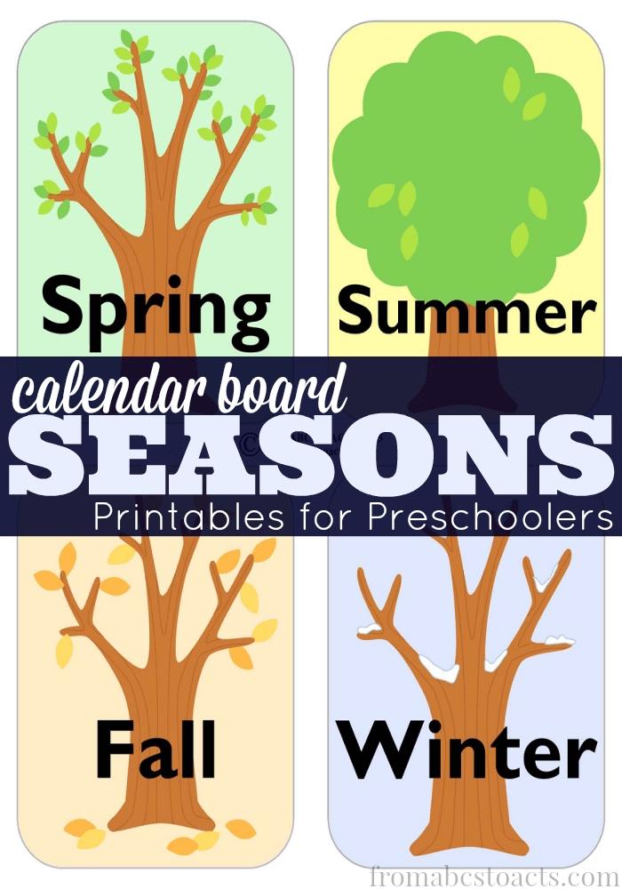 Preschool Calendar Board Season Printables - From Abcs To Acts