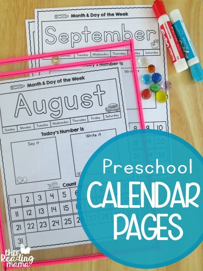 Preschool Calendar Pages {Free} - This Reading Mama