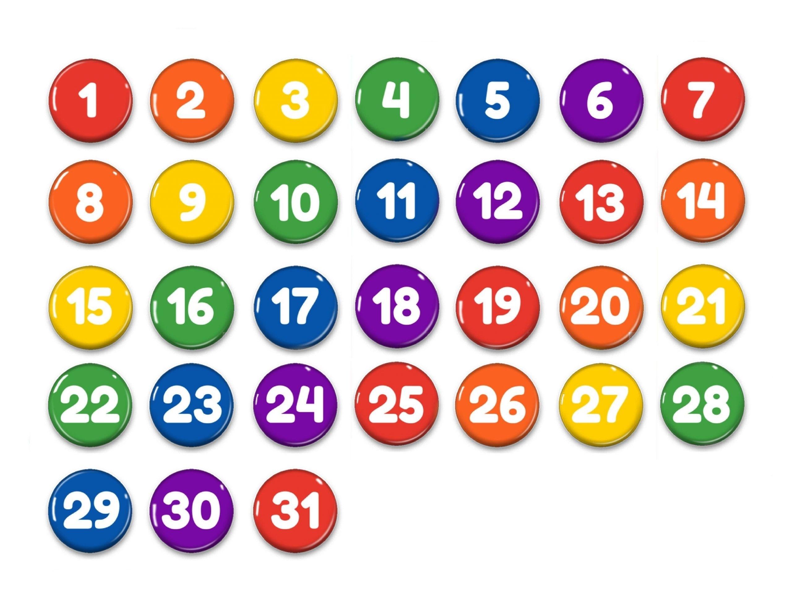 Preschool Numbers 1-31 | Best Calendar Example