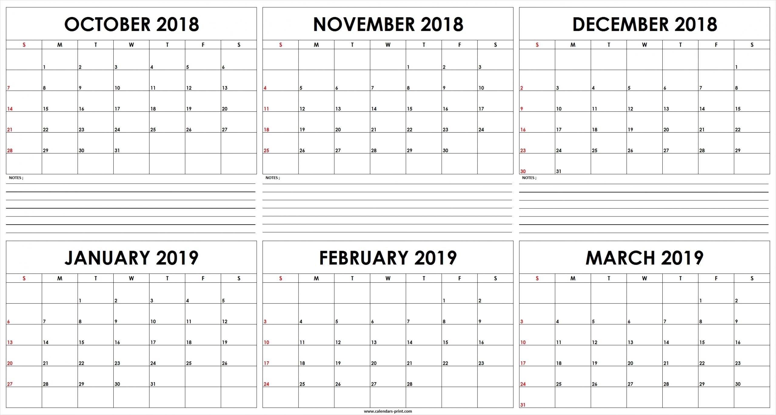 Print 6-Month Calendar 6 Free | Example Calendar Printable