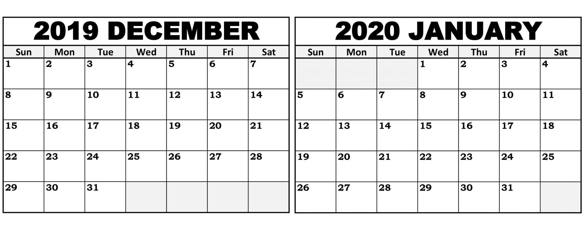 Print Calendar December 2020 And January 2020 | Calendar