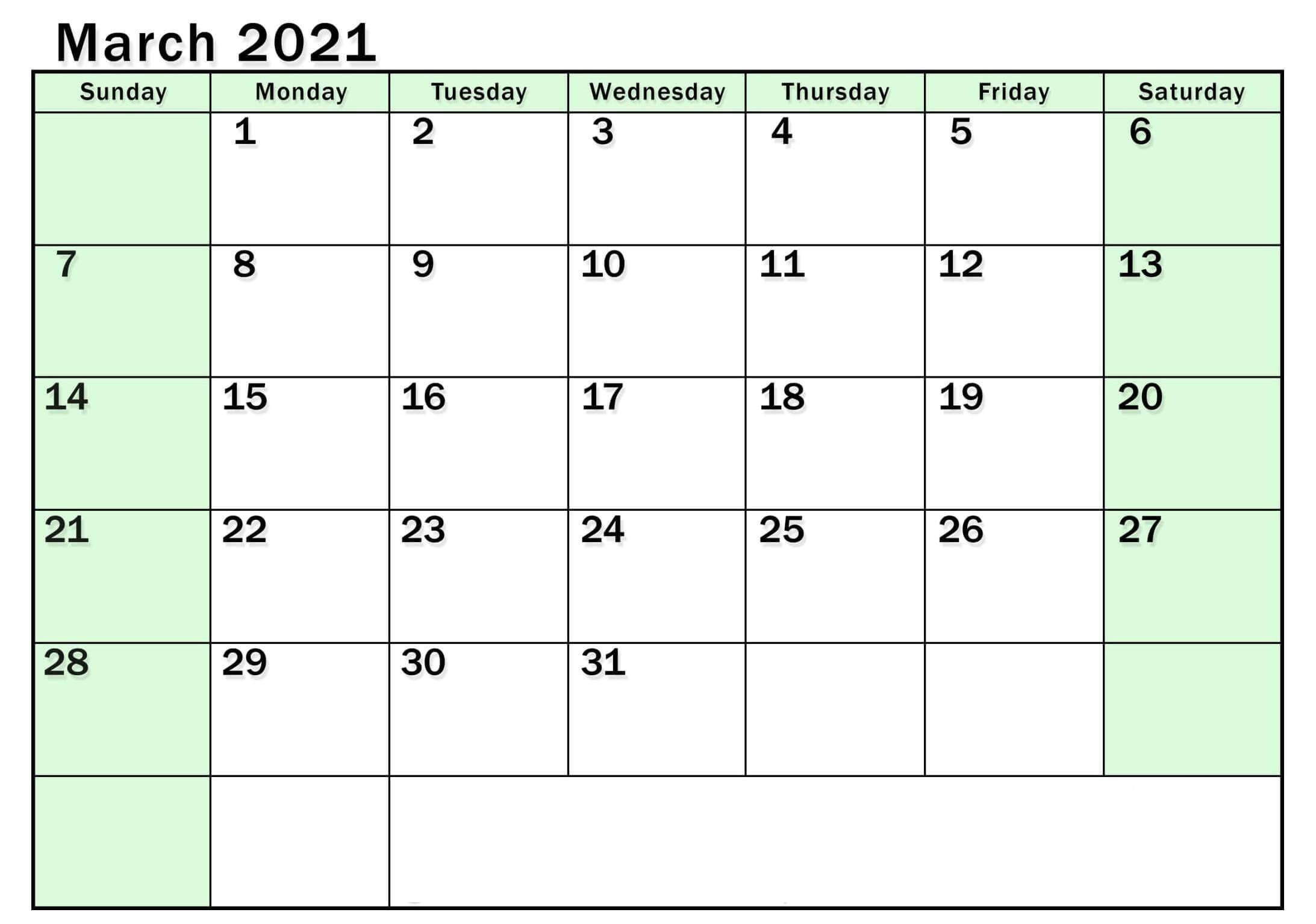 Print March 2021 Calendar Uk Bank & Public Holidays - Web