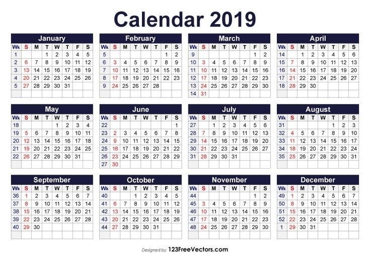 Printable 2019 Calendar With Week Numbers   Calendar With