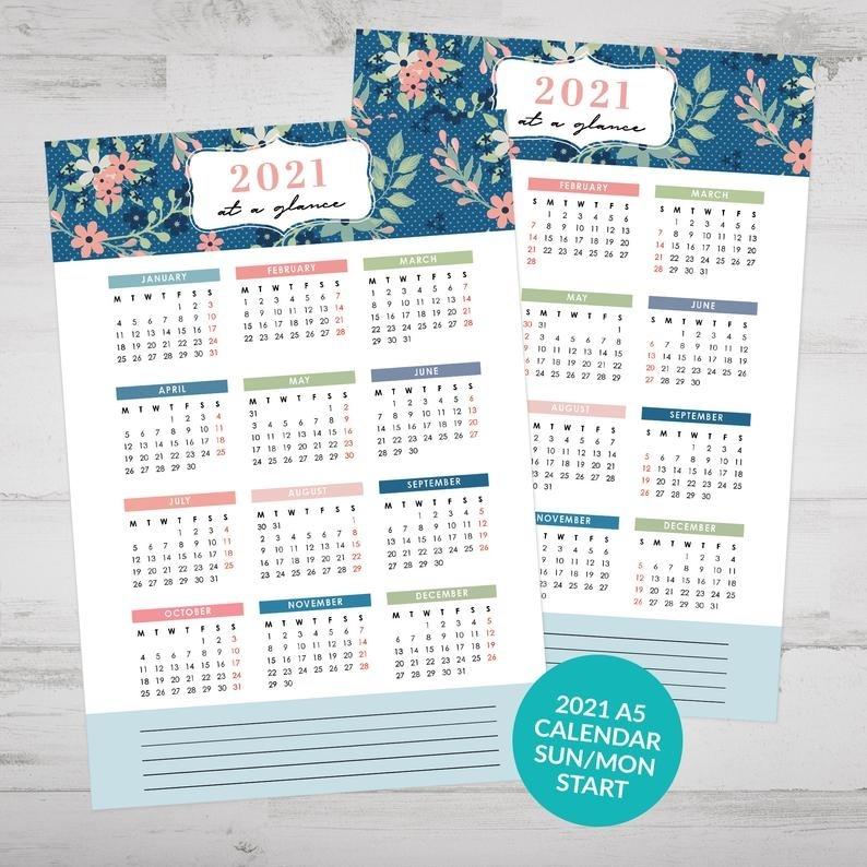 Printable 2021 At A Glance Calendar Yearly Calendar Bullet