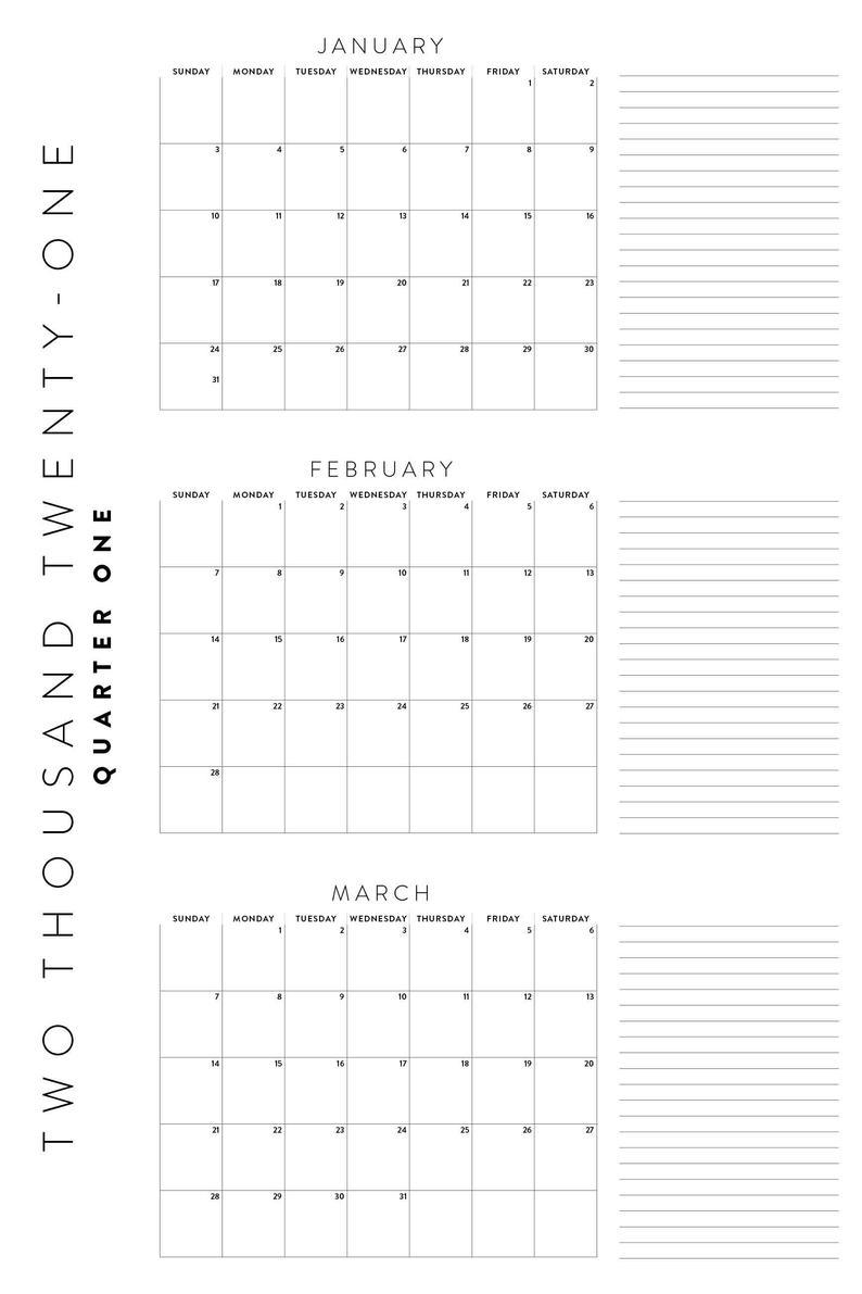 Printable 2021 Calendar Bundle Yearly Quarterly Calendars
