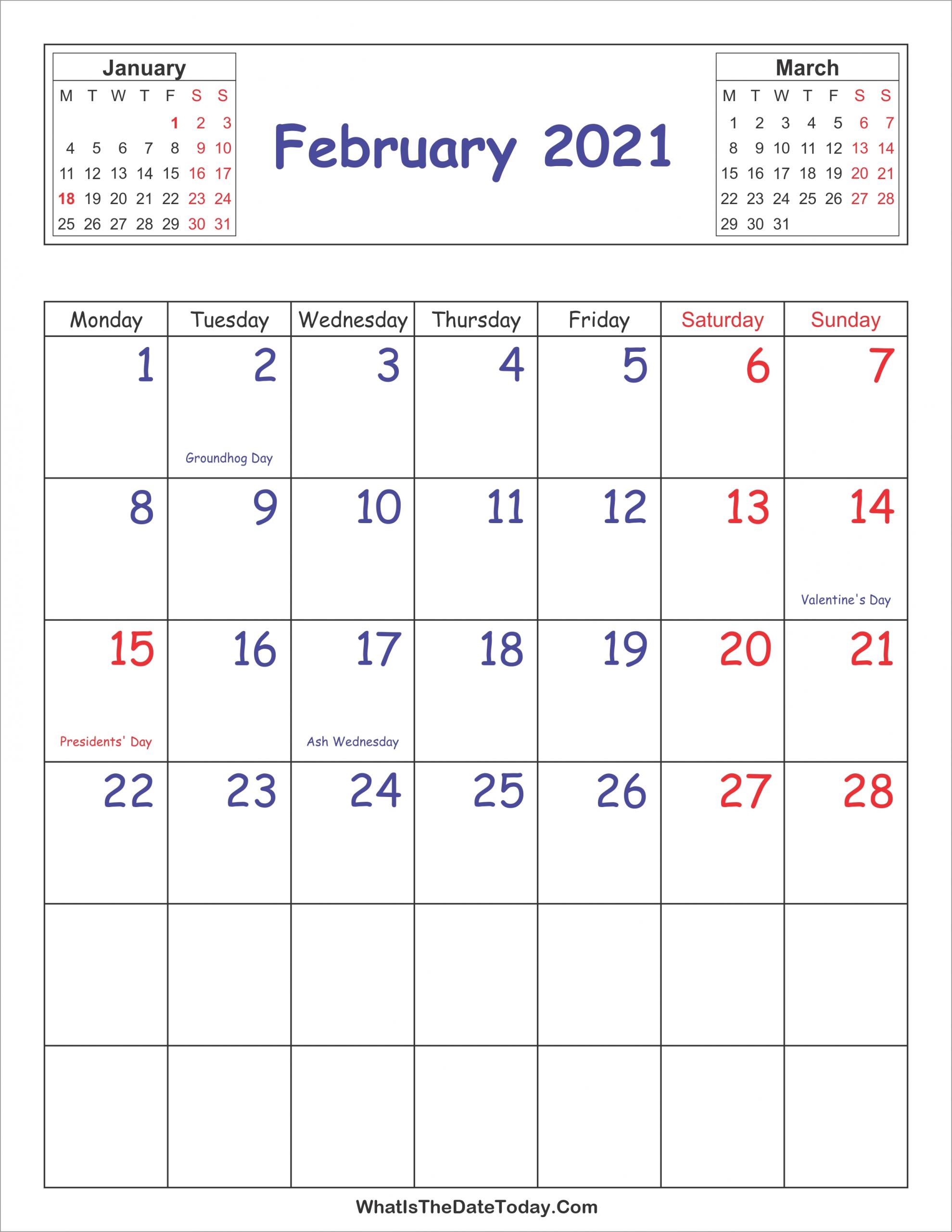 Printable 2021 Calendar February (Vertical Layout