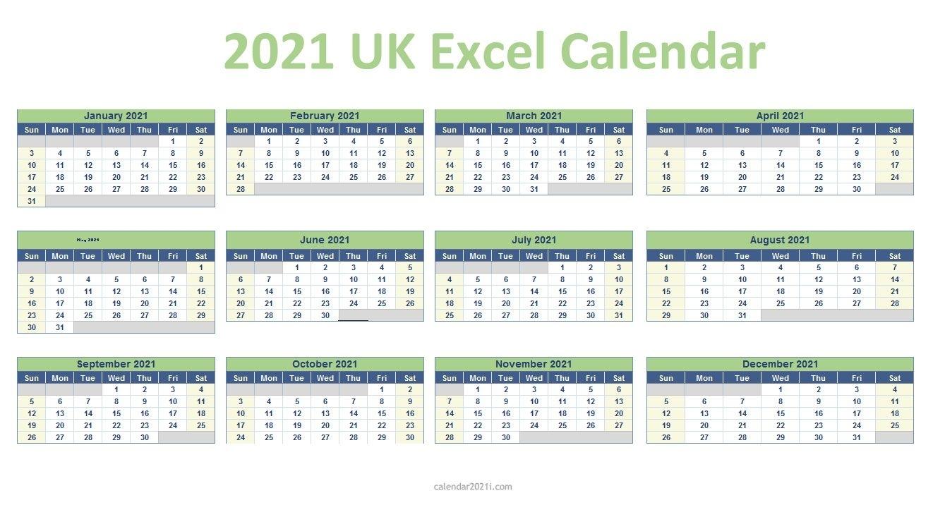 Printable 2021 Calendar Uk Excel - Newreay