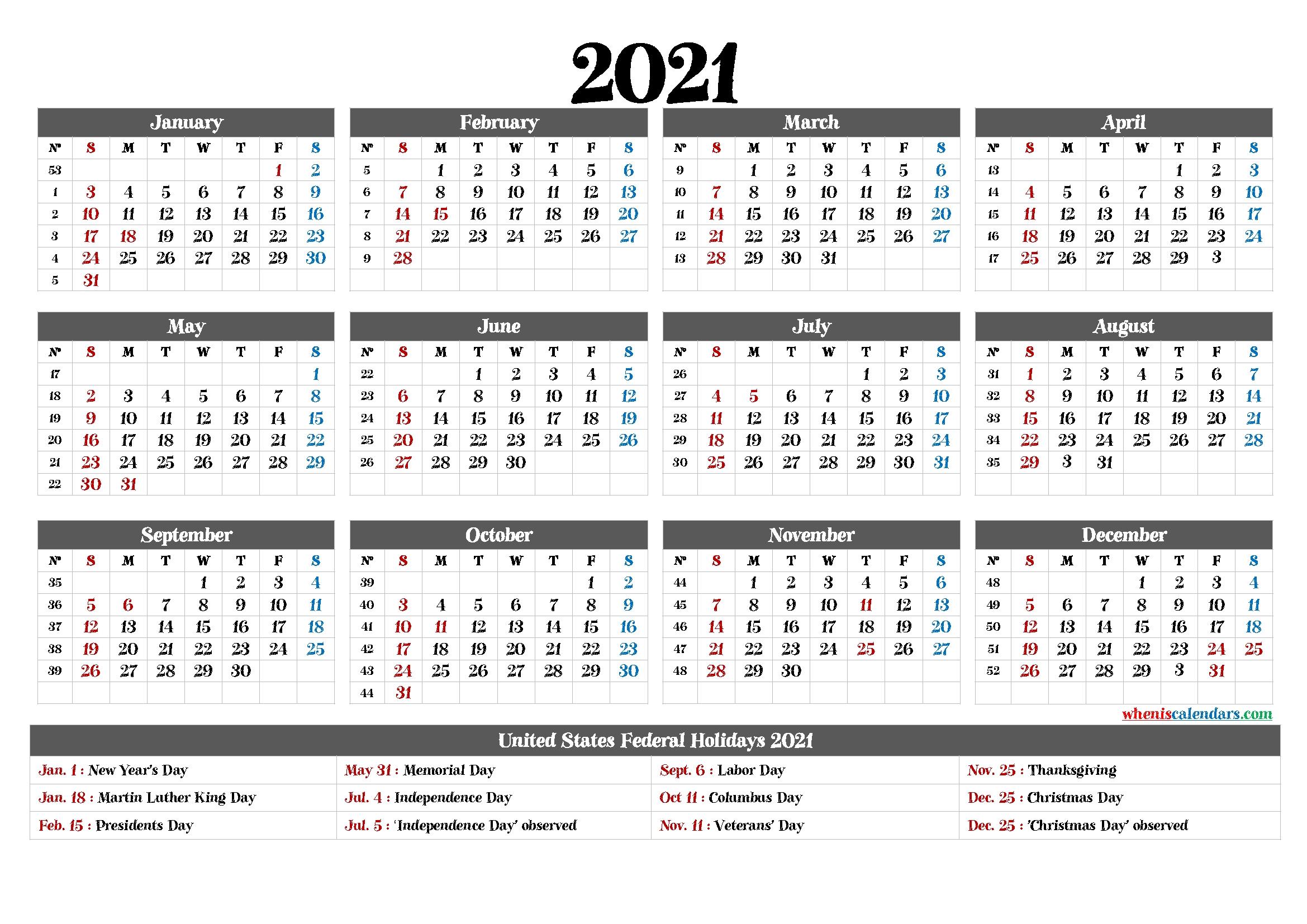 Printable 2021 Calendar With Holidays 12 Templates - Free