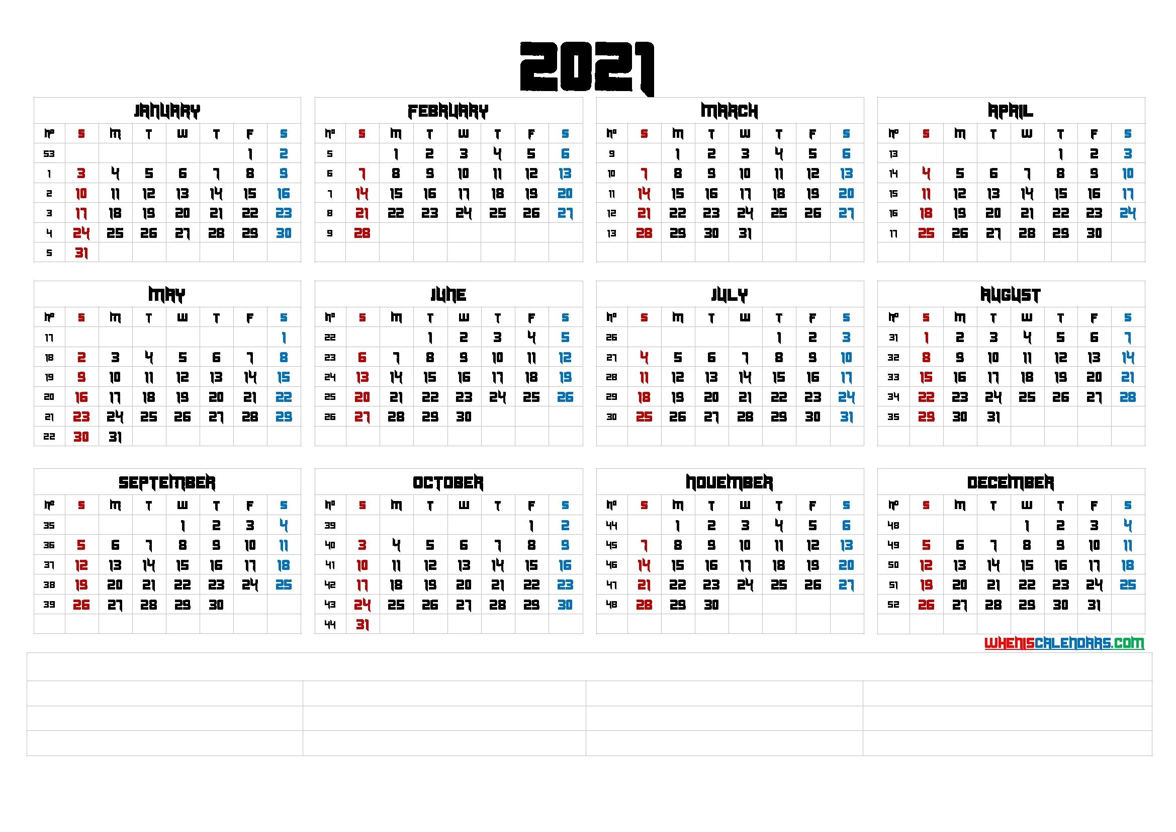 Printable 2021 Calendaryear (6 Templates) - Free