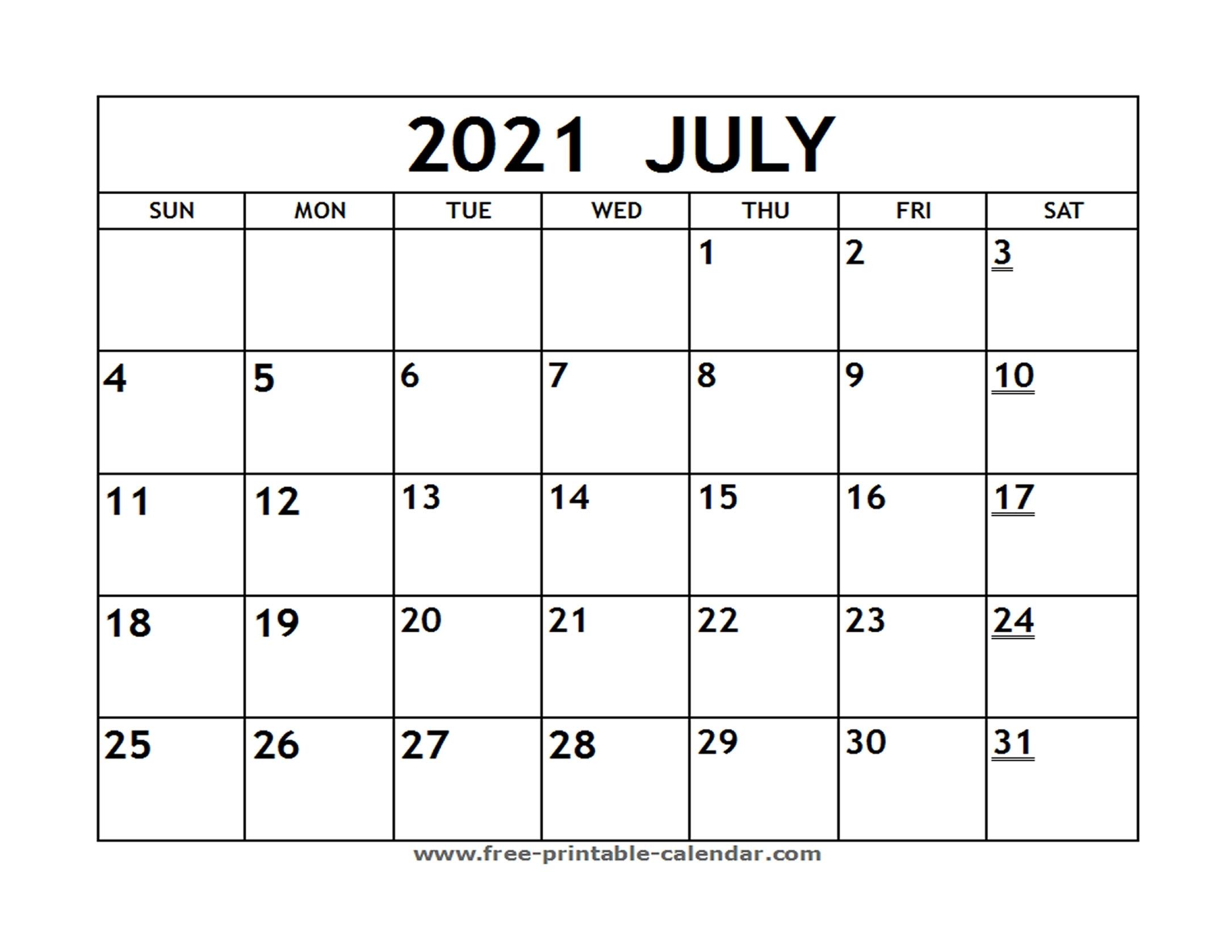 Printable 2021 July Calendar - Free-Printable-Calendar