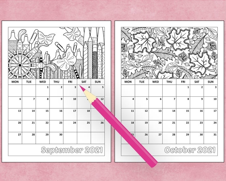 Printable 2021 Monthly Coloring Calendar 8.5 X 11 | Etsy