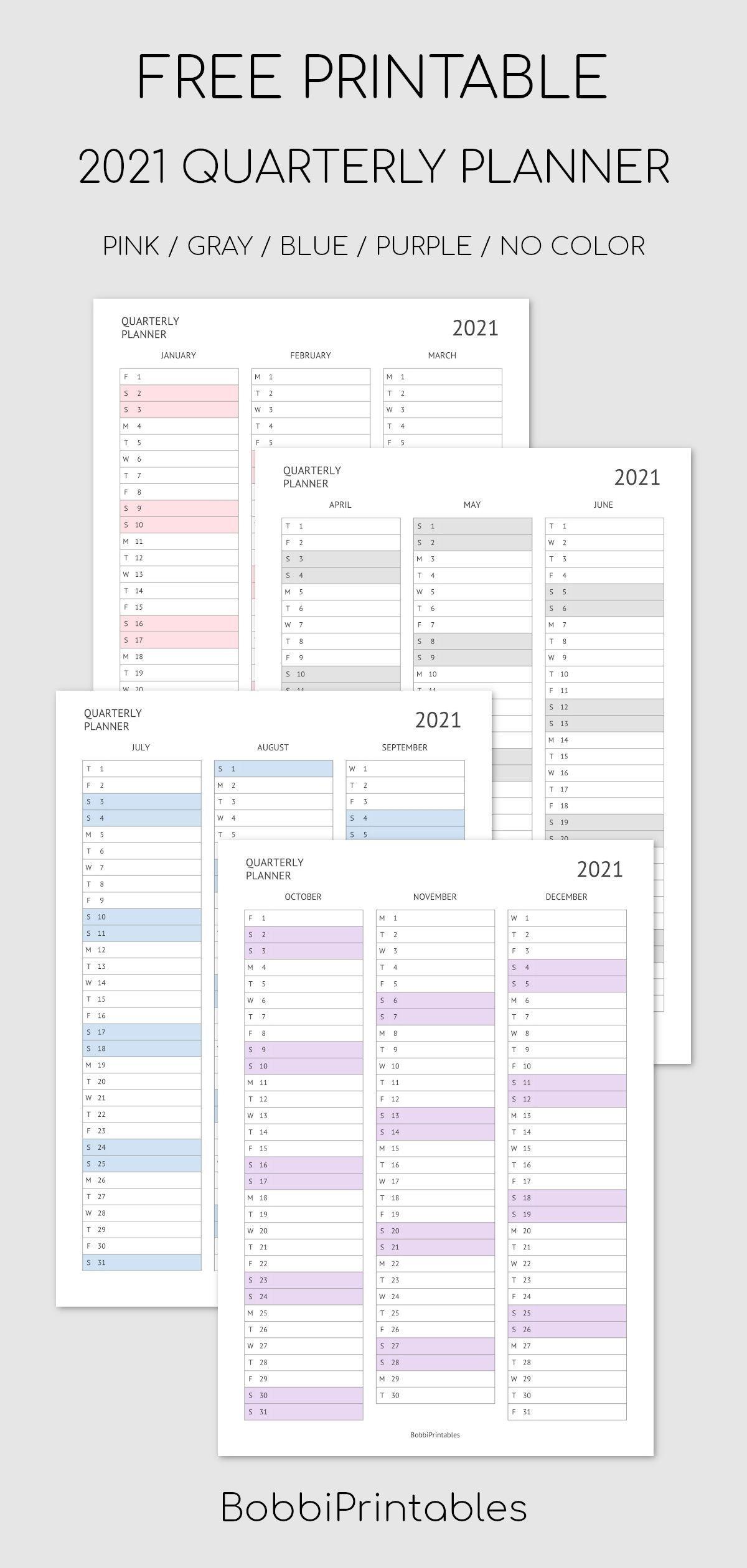 Printable 2021 Quarterly Planner / Calendar   Quarterly