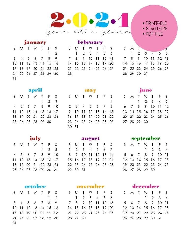 "Printable 2021 Year At A Glance, 8.5""X11"" Wall Calendar"