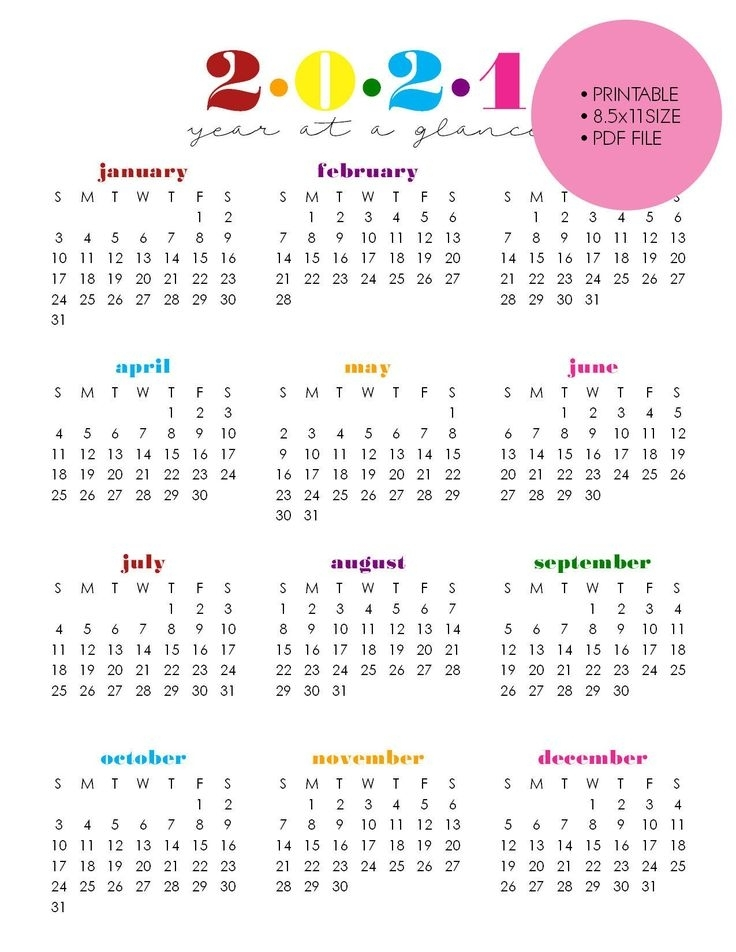 Printable 2021 Year At A Glance 8.5X11 Wall   Etsy In 2021