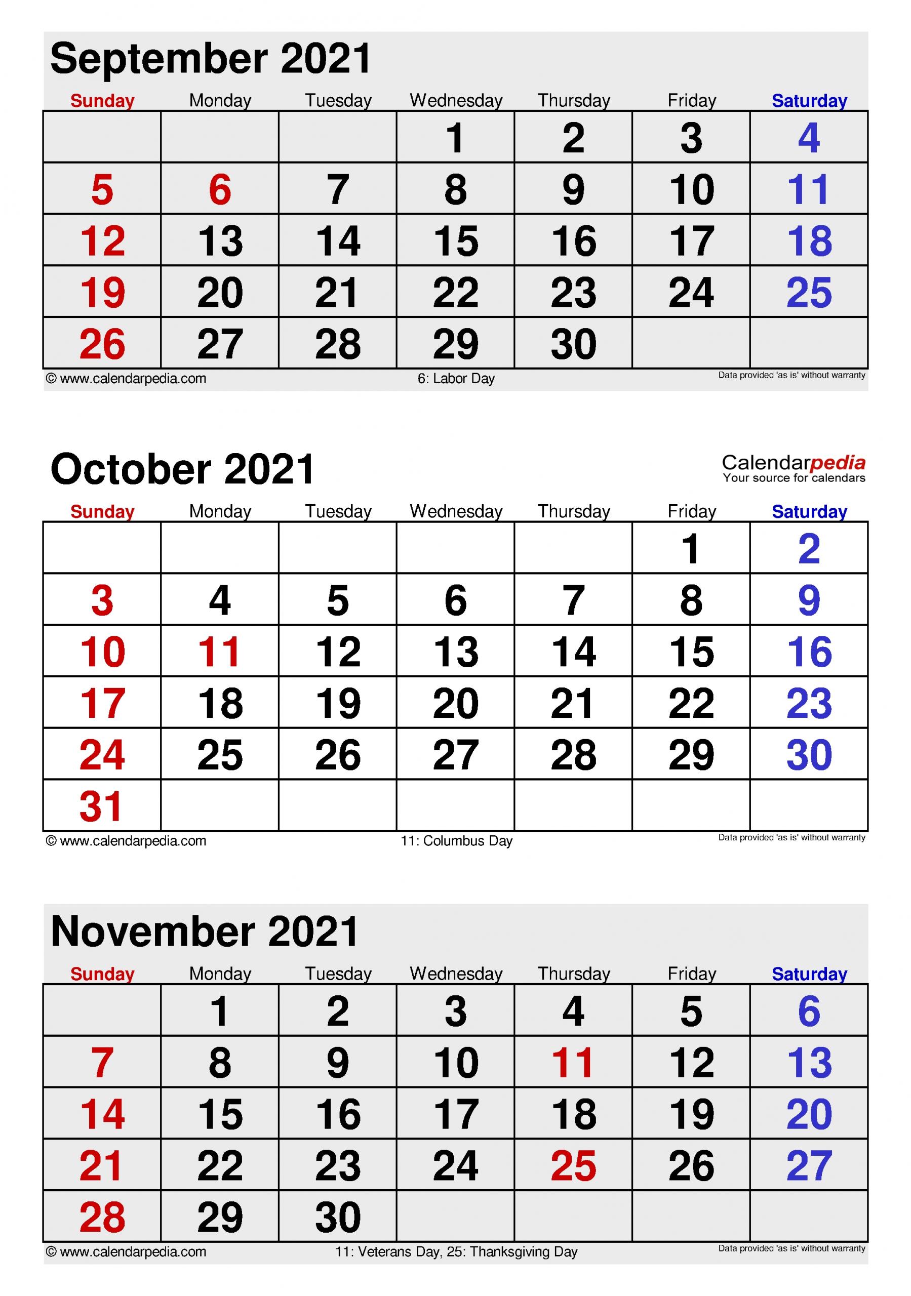 Printable 3 Month Calendar August September October 2021