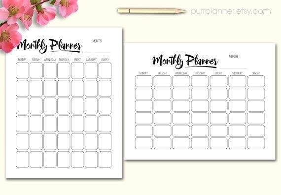 Printable Black And White Monthly Organizer, Undated