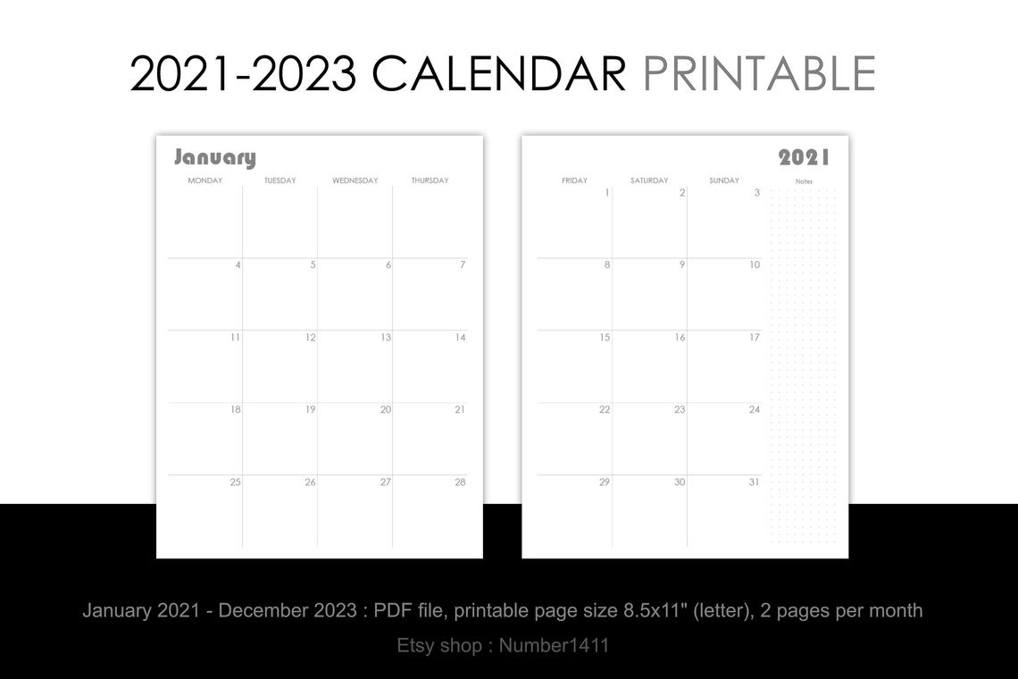 Printable Calendar 2021 2022 2023 : Monthly Planner For 36