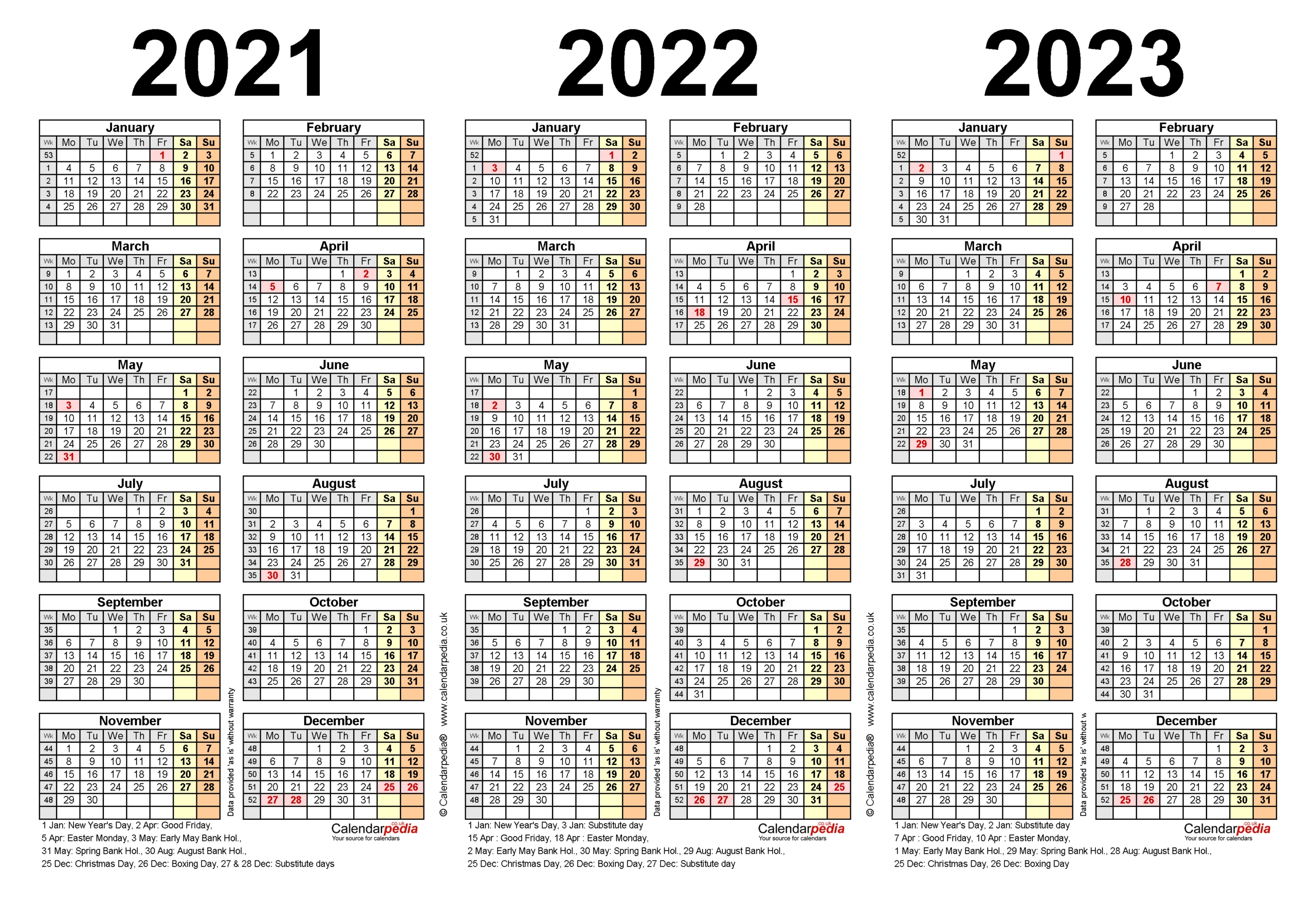 Printable Calendar 2021-2023 | Calendar Printables Free Blank