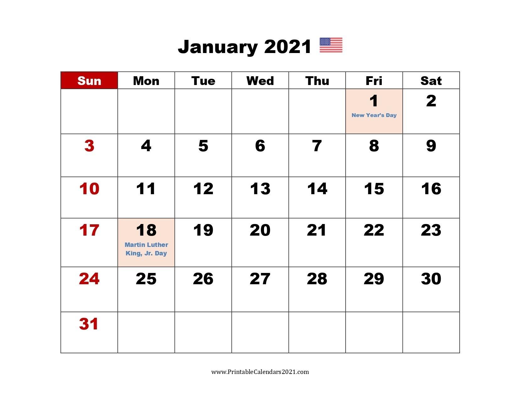 Printable Calendar 2021 January | Calendar Printables
