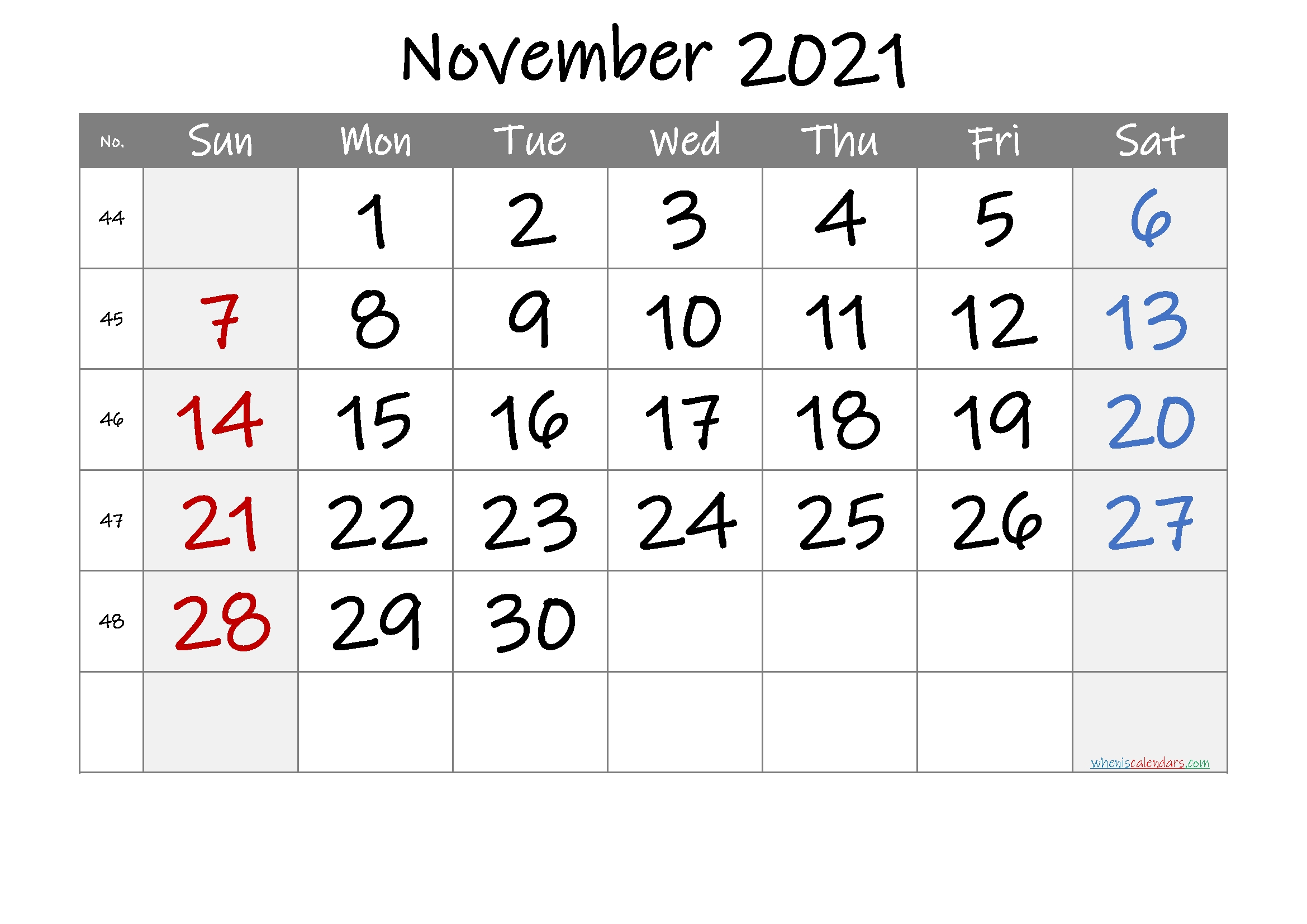 Printable Calendar November 2021 [Free Premium]