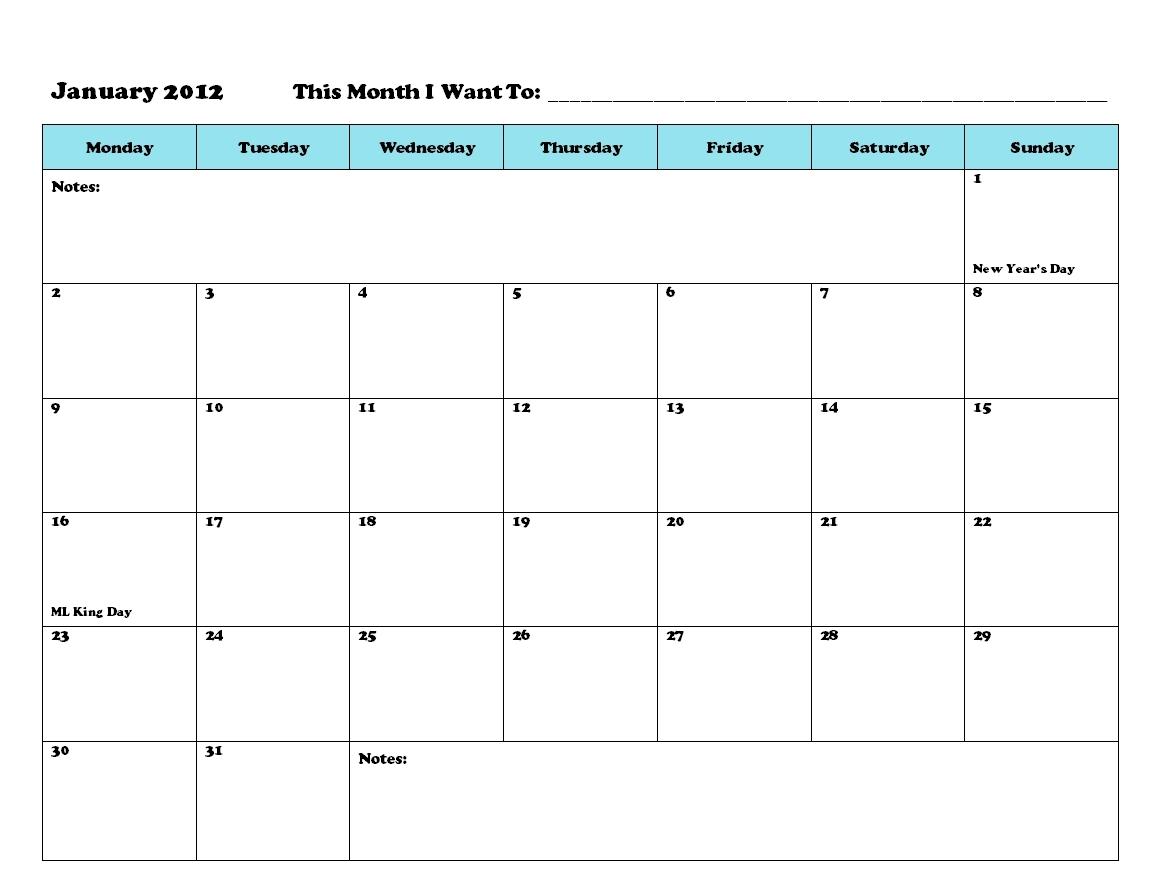 Printable Calendar To Write On | Ten Free Printable