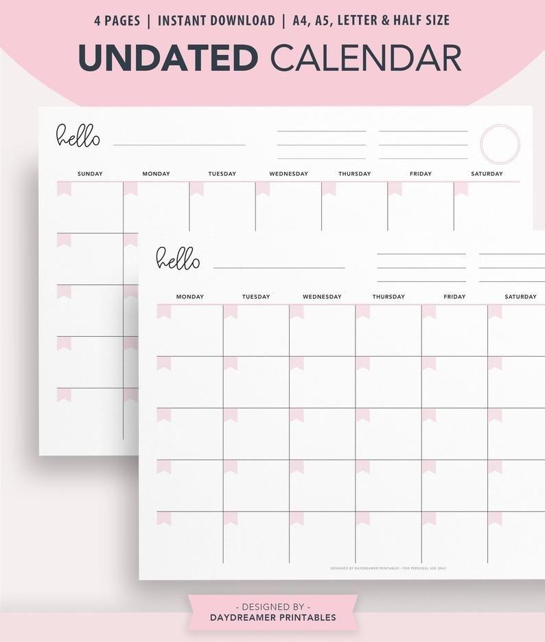 Printable Calendar, Undated Desk Calendar, Wall Calendar