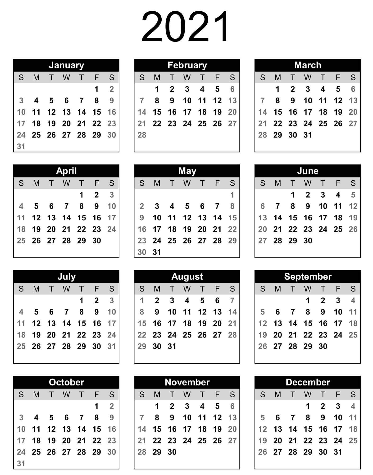 Printable Calendar Year 2021 Holidays | Free Printable