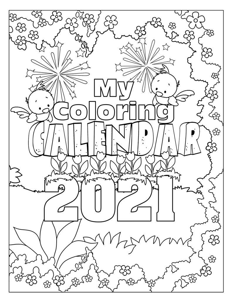 Printable Coloring Calendar 12 Month Calendar 2021 Desktop