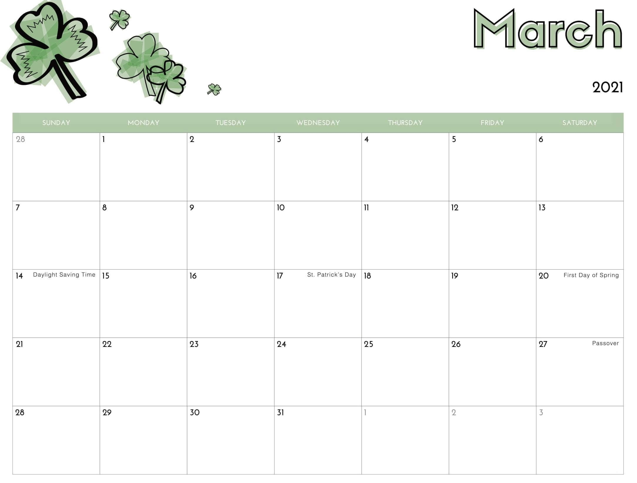 Printable Cute March 2021 Calendar Template Images - Set