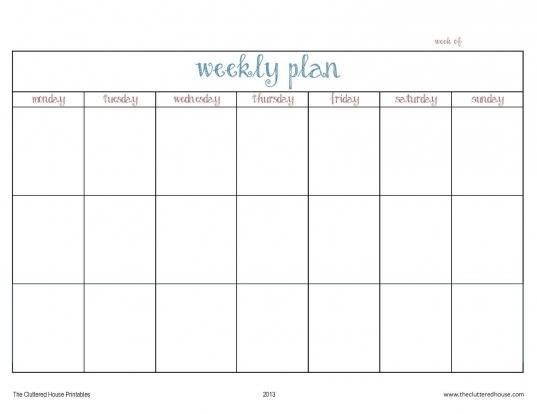 Printable Days Of The Week Calender | Printable Calendar