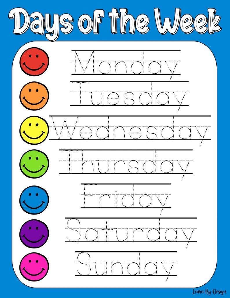Printable Days Of The Week Worksheet Traceable Worksheet